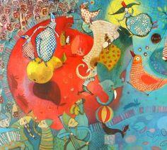 Les accrobates Elodie Nouhen Circus Art, Children's Book Illustration, Book Illustrations, Orange And Turquoise, Child And Child, Medium Art, Doodle Art, Painting Inspiration, Childrens Books