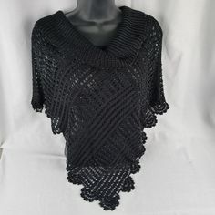 5d06d39b8 St. John Evening Beaded Shawl Marie Gray Black Fine Knit Rayon Poncho Size  ML