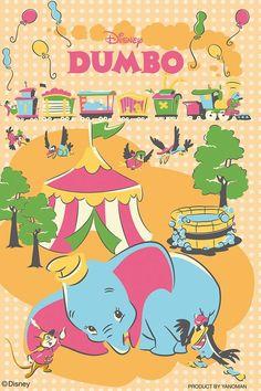 可愛いテイストの ディズニー ダンボ 背景のイラスト