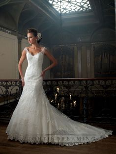 A-line Cap Sleeves V-neck Wedding Dresses with Deep Scoop Back