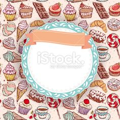 Hand drawn confectionery seamless pattern croissant Cupcake cand marshmallow Royalty Free Stock Vector Art Illustration