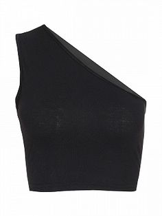 Black One Shoulder Cut Out Back Tight Cropped Top