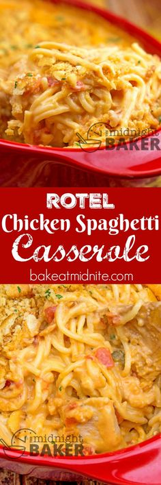 Cheesy chicken spaghetti casserole with spicy rotel tomatoes in the sauce. Cheesy chicken spaghetti casserole with spicy rotel tomatoes in the sauce. Chicken Spaghetti Casserole, Cheesy Chicken Casserole, Casserole Dishes, Casserole Recipes, Hamburger Casserole, Chicken Lasagna, Pasta Dishes, Food Dishes, Main Dishes
