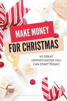This time of year isn't just stressful due to gift giving, there are several reasons you may need cash. Here are several ways to make money for Christmas. Make Money Fast, Make Money From Home, Extra Cash, Extra Money, Need Cash, Earn Money Online, Online Jobs, Work From Home Moms, Money Tips
