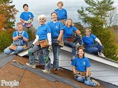 My sis-in-law from left front row) helped form this group of North Carolina women who volunteer their weekends to roof houses for those who can't afford to pay someone. She is truly one of a kind! They were featured in People. Roof Leak Repair, Boynton Beach, Roofing Contractors, Hampton Roads, The Millions, Home Free, Women Empowerment, Front Row, Rockabilly
