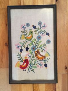 Completed Needlepoint on Linen - Fancy Birds & Flowers - Framed with Glass 15x9