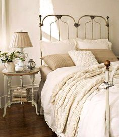 Wrought iron bedroom neutral decor