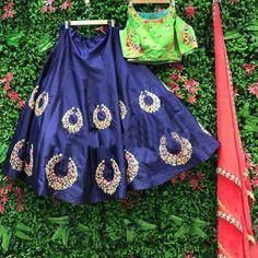 Poly Silk Navy blue Embroidered Semi Stitched Lehenga - 2421L