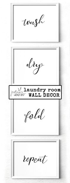 Minimalist Home Decor, Wash Dry Fold Repeat Laundry Room Decor, Set of Printable Wall Art Minimalist Home Decor, Art Crafts, Paper Size, Word Art, Printable Wall Art, Fine Art Paper, Laundry Room, Repeat, Digital Prints