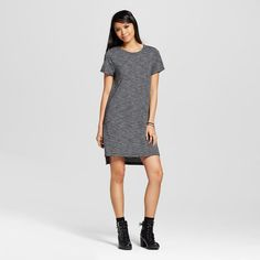 Women's Striped Knit T-Shirt Dress Black & White XS - Mossimo