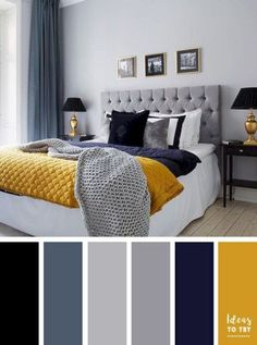 navy blue yellow and grey bedroom grey and blue decor with pop of color bedroom decor inspiration navy blue grey yellow bedroom Blue Bedroom Colors, Navy Blue Bedrooms, Bedroom Color Schemes, Colourful Bedroom, Bedroom Black, Bedroom Yellow, Mustard Bedroom, Blue And Gold Bedroom, Wall Colors