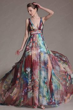 eDressit 2014 New Printed Chic Plunging V-Cut Evening Dress Modest Dresses, Prom Dresses, Summer Dresses, Dress Prom, Beautiful Gowns, Beautiful Outfits, Off Shoulder Long Dress, Dress Skirt, Dress Up