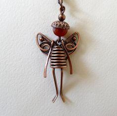 Small  Fairy  Pendant/Necklace, Copper/ Carnelian, Copper Chain