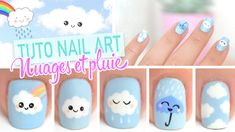 Nail art Kawaii ♡ Nuages et pluie✿❤Thank❤You✿I❤❤❤You❤✿