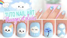 Nail art Kawaii ♡ Nuages et pluie✿❤Thank❤You✿I❤❤❤You❤✿