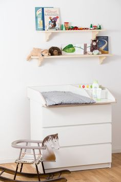 Changing top 50 cm width with additional compartments for baby products on Ikea Malm chest of drawers Baby Bedroom Furniture, Kids Furniture, Baby Nook, Ikea Malm Dresser, Baby Changing Tables, Baby Zimmer, Best Ikea, Affordable Furniture, Nursery Room
