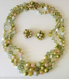 Vintage Lucite Bead Multi Strand Necklace and Earrings