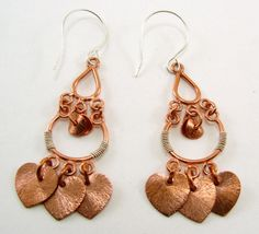 Mixed Metal Sterling and Copper Earrings by SilverStringsStrands, $18.00