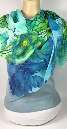 large Silk Scarf Hand Painted Blue Butterflies Poppies, Pure Silk Chiffon,Luxurious gift for her Large Scarf, Blue Butterfly, Silk Painting, Textile Patterns, Silk Scarves, Silk Chiffon, Floral Motif, Womens Scarves, Poppies