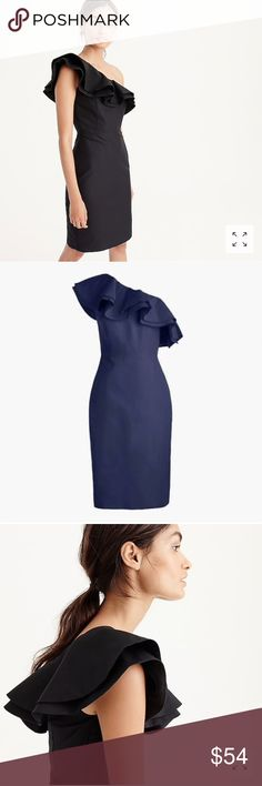 💙NWT J. Crew One-Shoulder Ruffle Dress in Faille Brand new with tag. Never worn! Taken out of the plastic on Saturday to try on.  Perfect condition!  Color: Navy Size: Petite 2 (comparable to a regular size 0)  📷 J. Crew / jcrew.com 📷 eBay / ebay.com J. Crew Dresses One Shoulder