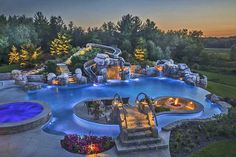 Insanely Cool Lazy River Pool Ideas in Home Backyard Luxury Swimming Pools, Luxury Pools, Dream Pools, Swimming Pools Backyard, Swimming Pool Designs, Pool Landscaping, Pool Spa, Backyard Lazy River, Lazy River Pool