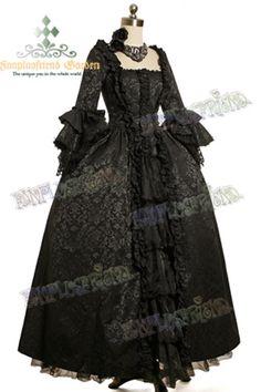 Longue robe de bal noire victorienne Rococo, a etages, princesse > JAPAN ATTITUDE - VETEGR095 Shop : www.japanattitude.fr