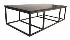 """Show details for 64"""" Stone Top Coffee Table with Metal Base"""