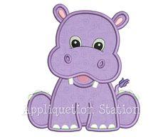 Zoo Baby Hippo Applique Machine Embroidery Design Boy Girl Safari Cute animal…