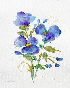 Painting - Purple-blue Watercolor Flowers-jp3793 by Jean Plout