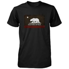 Funny Graphic Statement Mens Black T-shirt - California Republic Flag