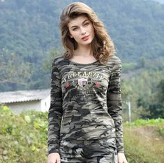 Item Type: Tops Tops Type: Tees Gender: Women Decoration: Embroidery Style: Fashion Collar: O-Neck Sleeve Length(cm): Full Material: Cotton Fabric Type: Knitted Pattern Type: Print Clothing Length: Regular Blouses For Women, T Shirts For Women, T Shirt Time, Customise T Shirt, 2016 Fashion Trends, Camo Shirts, Tee Shirt Designs, Women Lifestyle, Online Fashion Stores