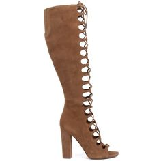 Kendall + Kylie Suede Lace-Up Boots (415 CAD) ❤ liked on Polyvore featuring shoes, boots, marrone, open-toe boots, lace up boots, open toe shoes, laced shoes and side zip boots