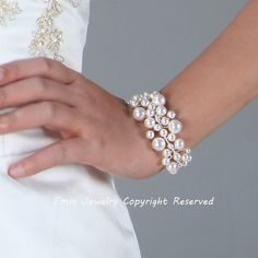 White Swarovski Pearl Vine Lace Bridal Cuff Bracelet - Wedding Gifts for Brides and Bridesmaids