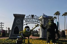 Mike and Sully topiaries