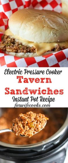 Tavern Sandwiches an Electric Pressure Cooker Recipe Are you looking for an easy ground beef recipe for your Instant Pot? These Tavern Sandwiches are a loose meat sandwich recipe the whole family will love. Skillet and crock pot recipes also included! Meat Recipes, Crockpot Recipes, Cooking Recipes, Healthy Recipes, Oven Recipes, Fondue Recipes, Sandwich Recipes, Sirloin Recipes, Recipes Dinner