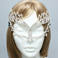 "Amazon.com: Womens Crystal Mask, Silver & Clear Crystals, Mask Size : 6"" W, 5"" L: Jewelry"