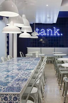 Tank Fish & Chippery | Carlton, Melbourne  Love the tile topped table