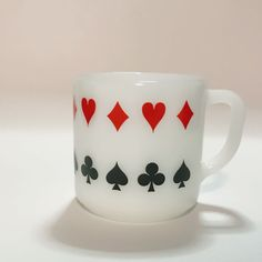 Federal Milk Glass Mug With Poker Cards Suits Design Hearts Spades Diamond
