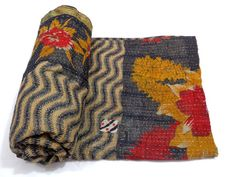 Vintage Throw Kantha Quilt Indian Handmade Bedspread Cotton Boho Bedding Blanket Ralli by Suzani Saree Sari Fabric 1558 on Etsy, $49.99