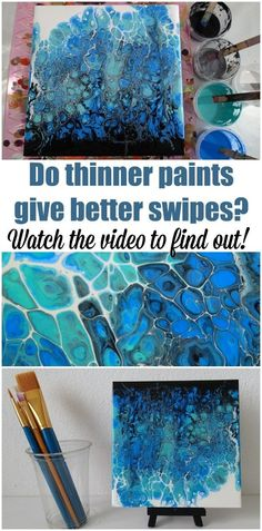 Swiping with Thinner Paints – Does It Make a Difference? Do thinner paints make for better swipes in acrylic pouring Do you get more cells Bigger cells or better cells Watch the video to find out more about swiping with acrylic paints. Flow Painting, Pour Painting, Painting Tips, Diy Resin Painting, Marble Painting, Painting Videos, Acrylic Pouring Techniques, Acrylic Pouring Art, Art Plastique