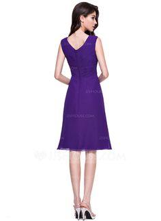 A-Line/Princess V-neck Knee-Length Chiffon Bridesmaid Dress With Ruffle Wedding Party Dresses, Bridesmaid Dresses, Dresses For Work, Formal Dresses, Special Occasion Dresses, Ruffles, Wedding Flowers, Fashion Dresses, Chiffon