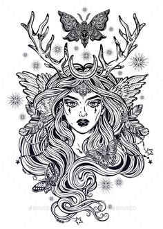 Buy Shaman Elf Magic Woman with Deer Antlers by itskatjas on GraphicRiver. Shaman elf magic woman with deer antlers and long hair, nightn moths and butterflies. Alchemy, tattoo art, t-shirt de. Witch Drawing, Mask Drawing, Adult Coloring Book Pages, Coloring Books, Coloring Pages, Types Of Drawing Styles, Elf Tattoo, Antler Drawing, Art Sketches