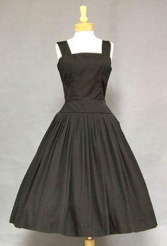 black cotton 1950s sun dress