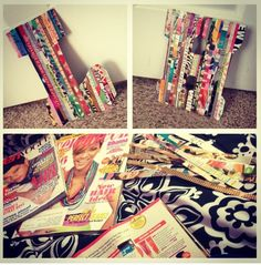 Easy decoration to make for a dorm room! Cut magazine strips, use cardboard or foam board to cut desire shape out and use Modge podge to glue strips down. Homemade Decorations, House Decorations, Dorm Walls, Dorm Room, Cute Room Decor, Wall Decor, Diy Ideas, Craft Ideas, Paper Paper