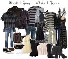 black, gray, white, denim
