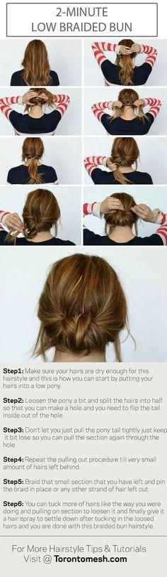2 Minute Low Braided Bun Hairstyle Tutorial Step By Step - Toronto, Calgary, Edmonton, Montreal, Vancouver, Ottawa, Winnipeg, ON