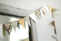 Easy DIY for Jayne's wedding decorations and/or bridal shower: sweet and sophisticated pennant garland - 8.5 FT of brown, gold and white floral on Etsy, $12.00