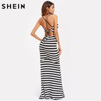 SHEIN Contrast Stripe Crisscross Backless Dress Black and White Spaghetti Strap Sexy Party Dresses Summer Maxi Dress