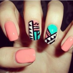 Coral and blue tribal nails