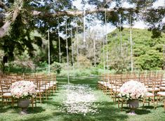 Fairytale Wedding Ceremony with Hanging Floral Decor by Moana Events